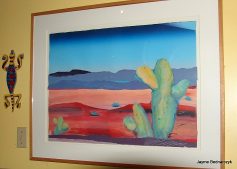 Saguaro mixed media collage by Patrick Coffaro