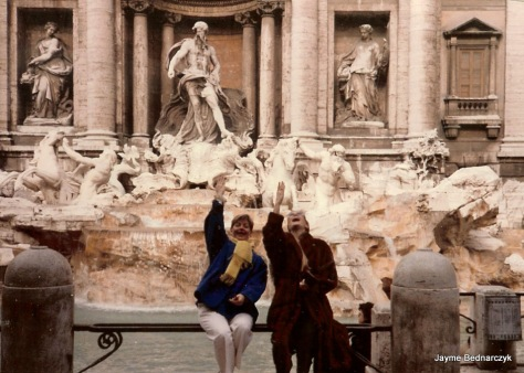 Jayme & Martha - throwing 3 coins in Trevi Fountain.