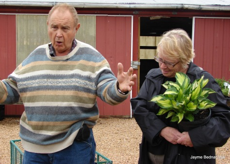 Plantsman Andre Viette speaking to group... Beth just scored a cool Hosta!